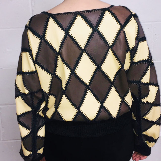 back of White And Brown Diamond Patchwork Jumper
