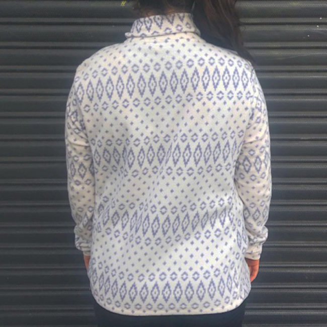 back of White And Grey Festive Print Fleece