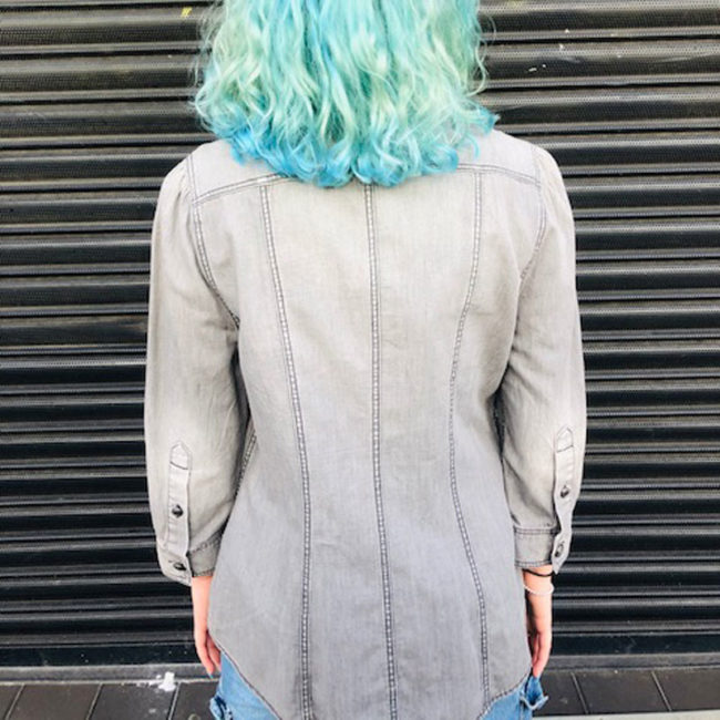 back of Womens Burberry Grey Denim Shirt