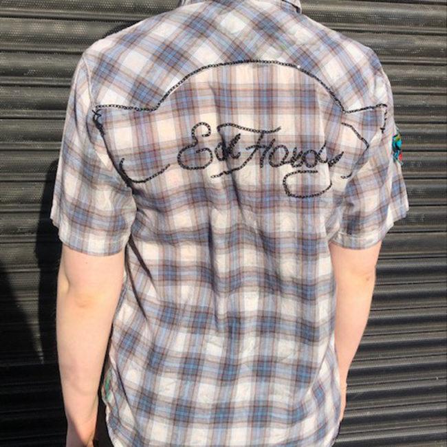 back of Womens Ed Hardy Plaid Shirt