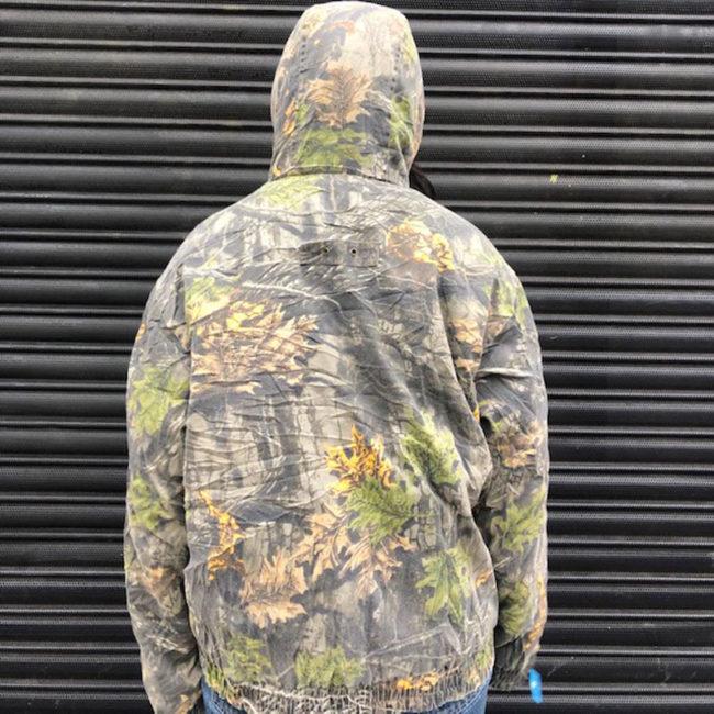 back of Woodland Camouflage Hunting Jacket