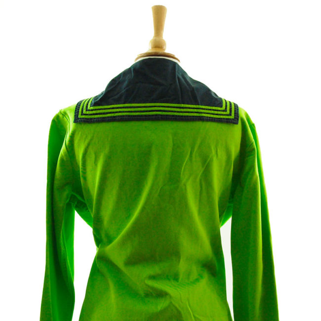 close back of Florescent Green Long Sleeve Sailor Top