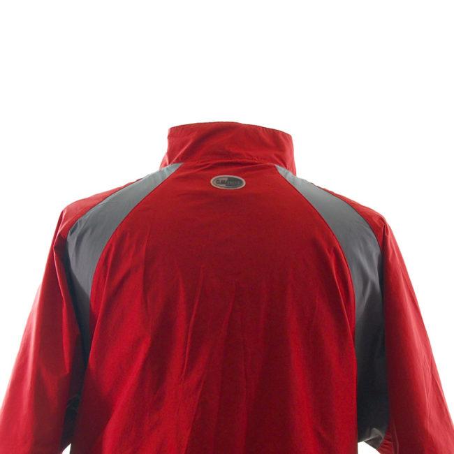 close back of Vintage Adidas Red Windbreaker