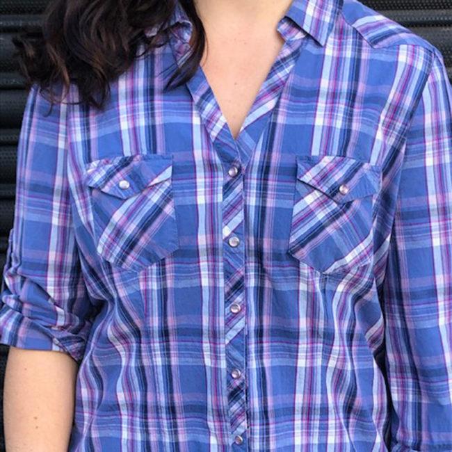 close front of Womens Blue Cotton Shirt