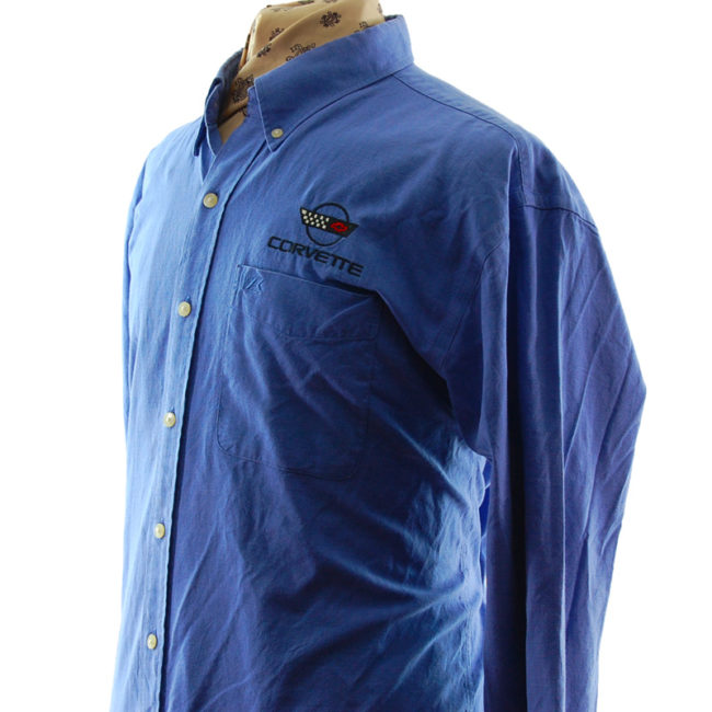 close side of Blue Corvette Work Shirt