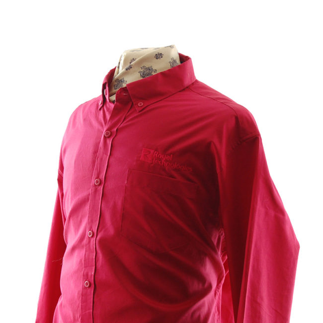 close side of Red Royal Technologies Work Shirt