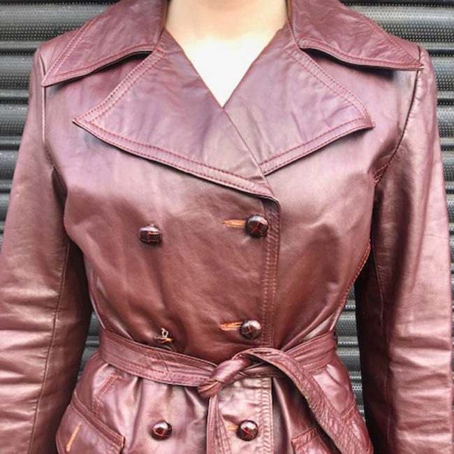 close up of 70s Genuine Leather Jacket