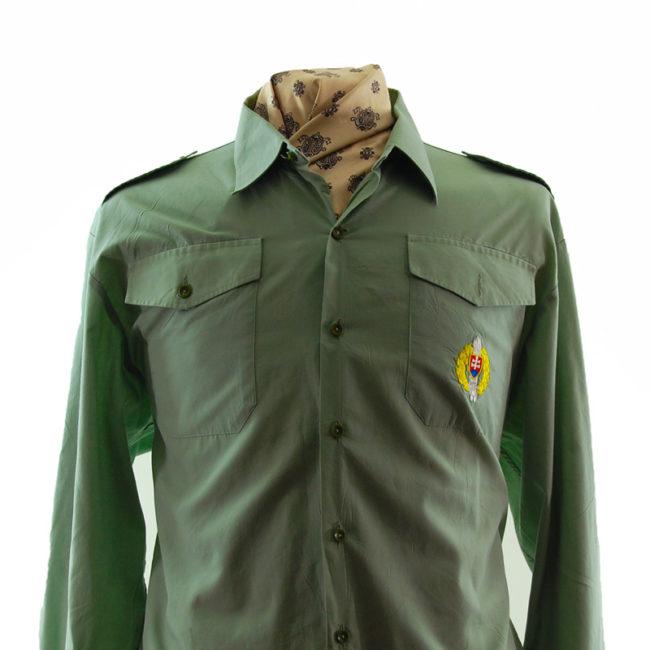 close up of 80s Light Green Shirt