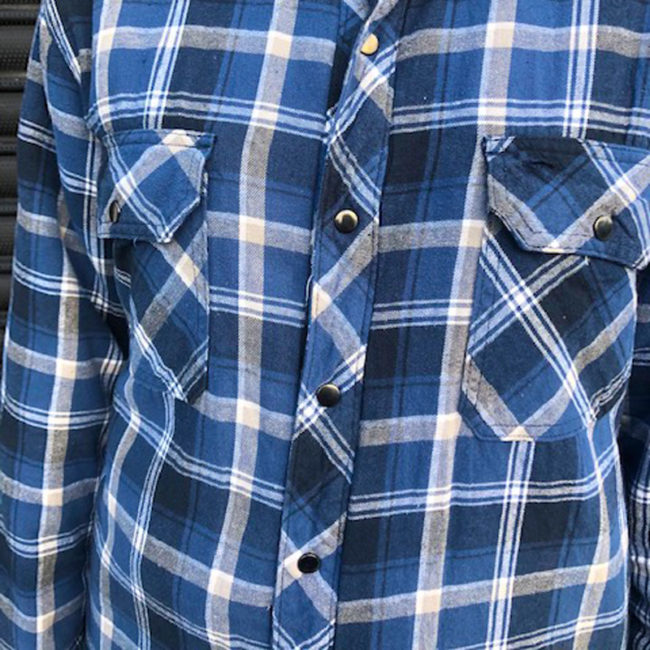 close up of B.C Clothing Quilted Checkered Shirt