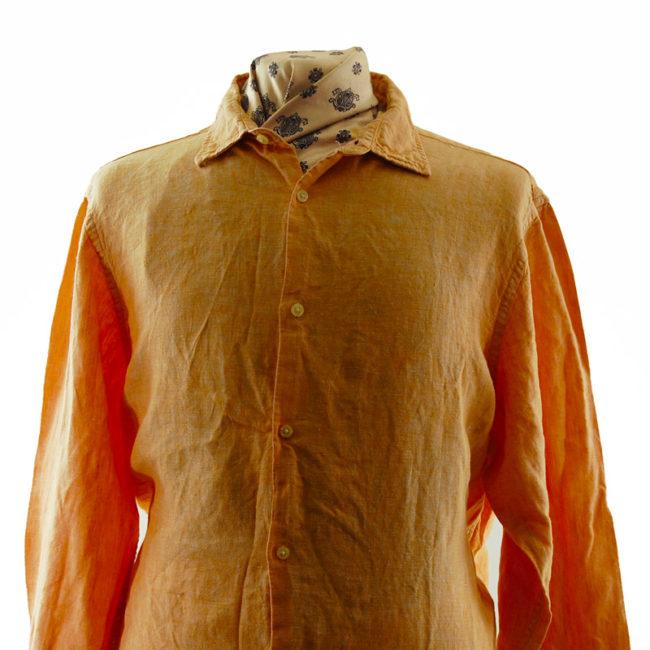 Close up front of Banana Republic Orange Shirt