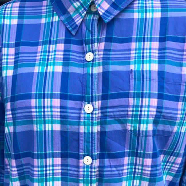 close up of Blue Checkered Fleece Lined Shirt