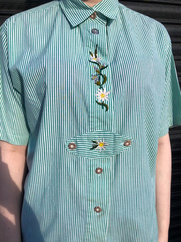 close up of Green Pinstripe Tyrolean Shirt