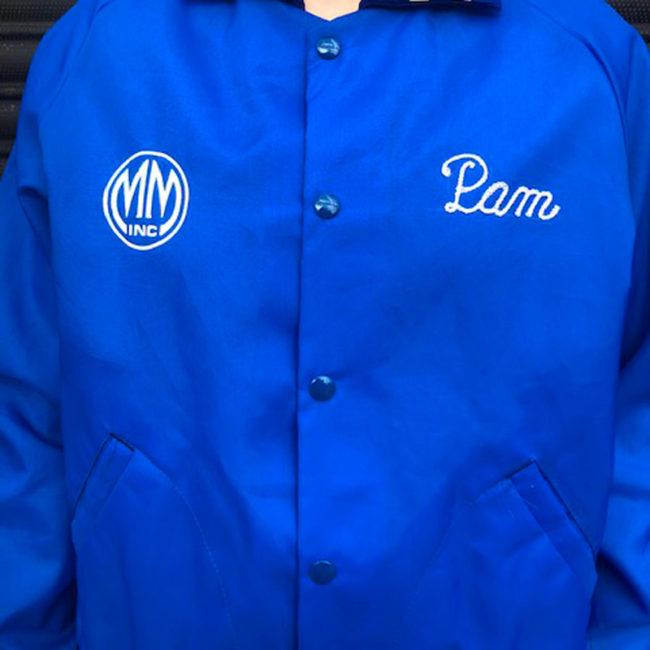 close up of MM inc Baseball Jacket