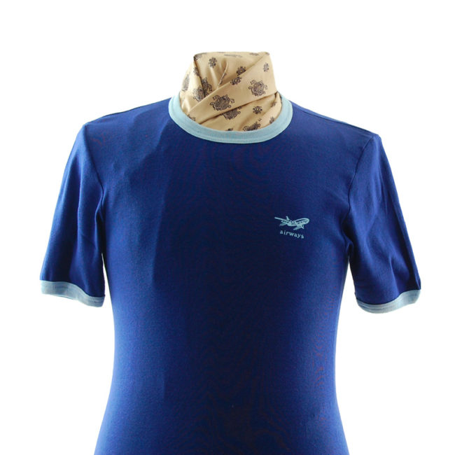 close up of Navy Blue Airways Tee Shirt