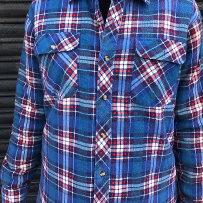close up of Northwest Territory Blue Checkered Shirt