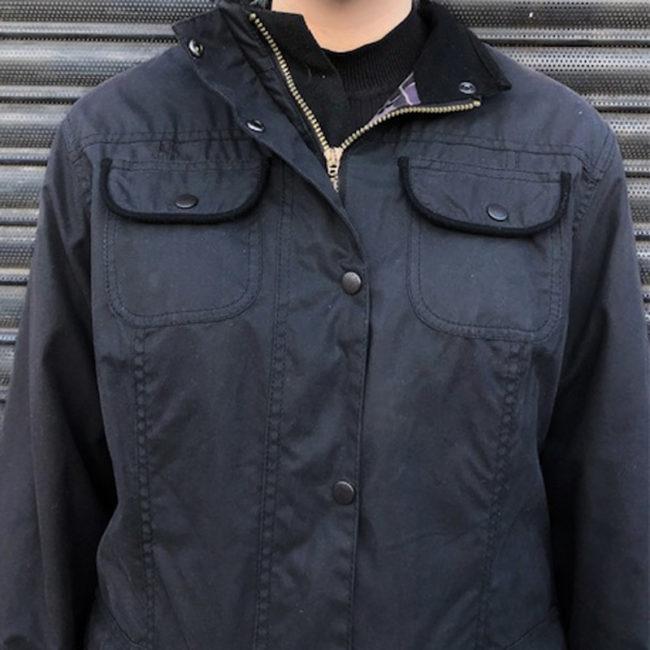 close up front Womens Black Barbour Jacket