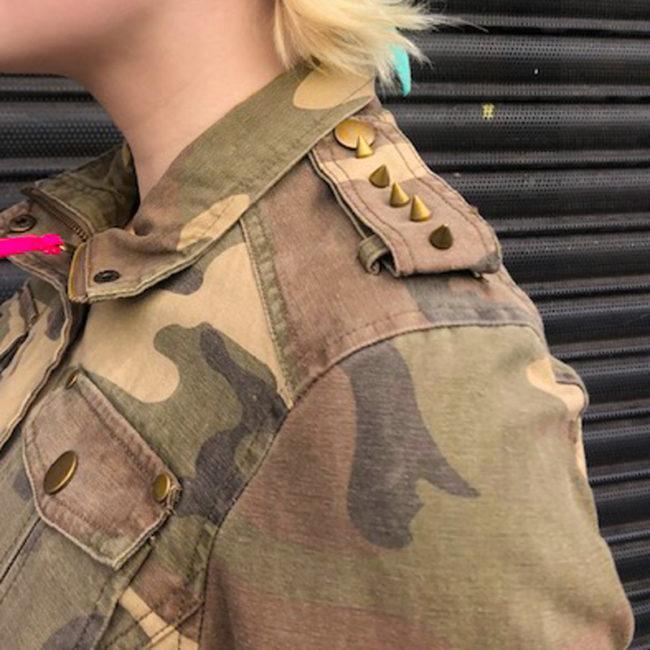 close up of Studded Camo Print Denim Jacket