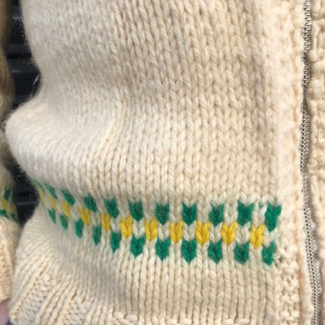 close up of Traditional Canadian Buffalo Cardigan