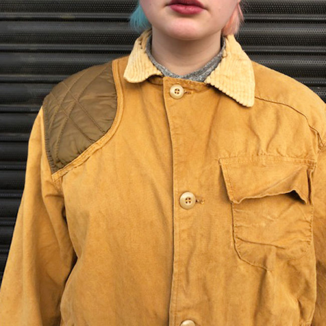 close up of Vintage Canvas Hunting Jacket