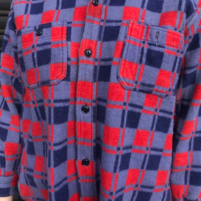 close up of Vintage Champion Fleece Checkered Shirt