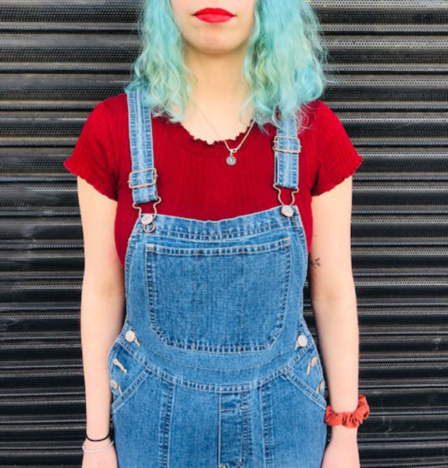 close up of Vintage Flared Denim Dungarees