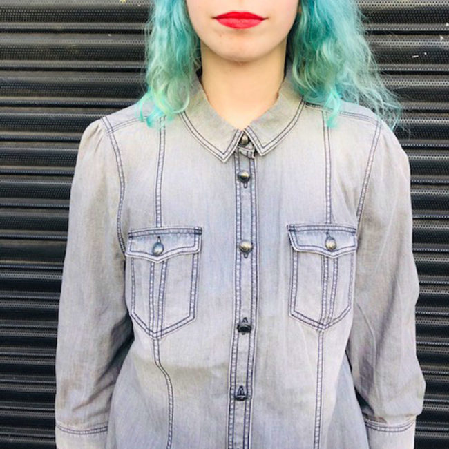 close up of Womens Burberry Grey Denim Shirt