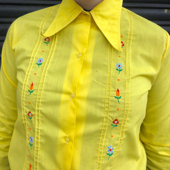 close up of 70s Yellow Floral Embroidery Shirt