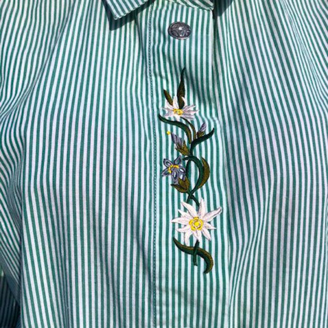 floral detailing Green Pinstripe Tyrolean Shirt