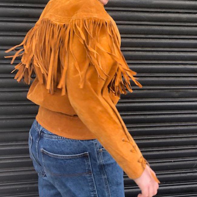 fringe of 90s Orange Suede Fringed Jacket