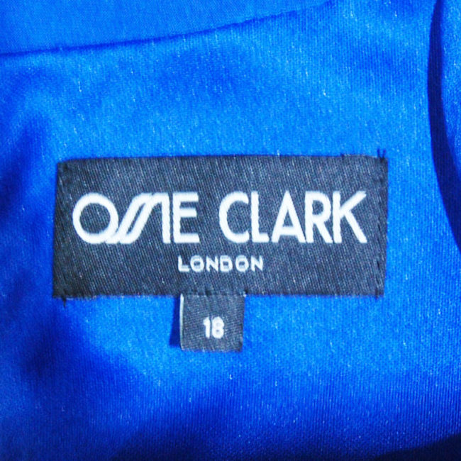 label of Ossie Clark Blue Evening Dress