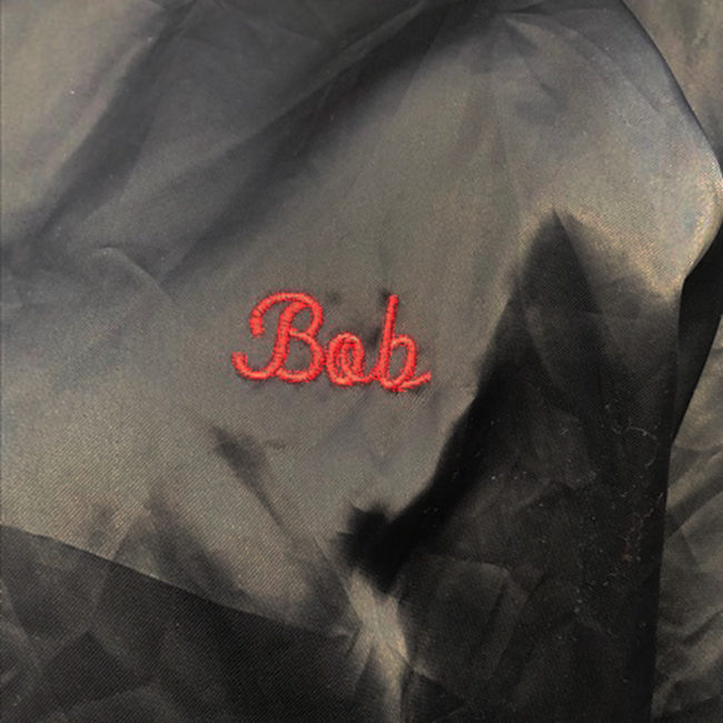 name on Black Satin Baseball Jacket