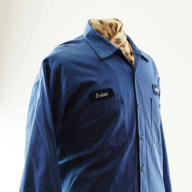 other side of Mens Blue Cintas Work Shirt