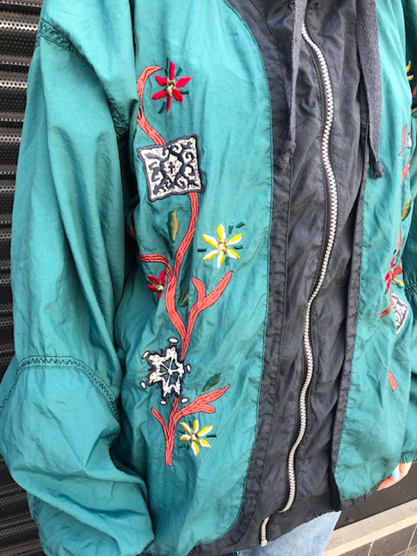 pattern on Forest Green Bomber Jacket
