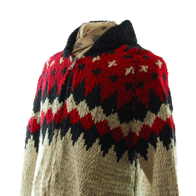 side close up of Red And Black Buffalo Cardigan