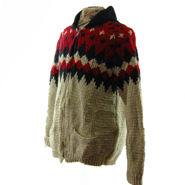 side of Red And Black Buffalo Cardigan