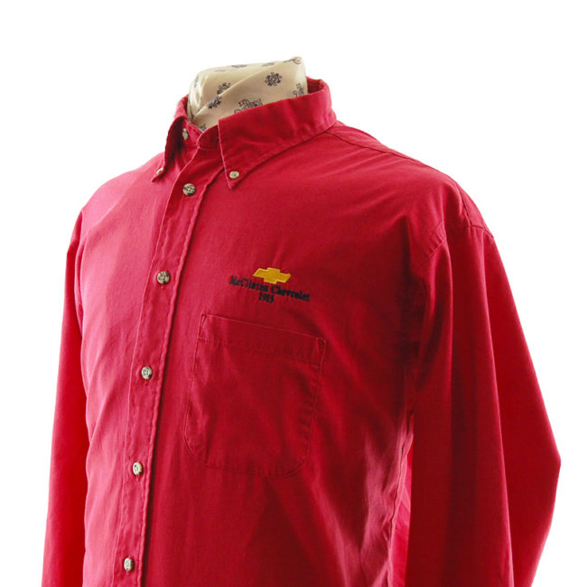 side of Red Mc'Clinton Chevrolet Shirt