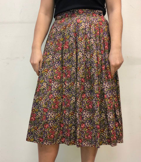 60s Classic Floral Print Skirt