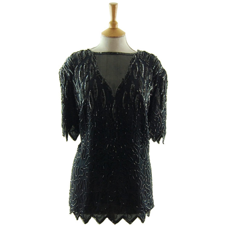 90s Black Chiffon Beaded Top