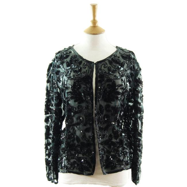 90s Black Sequined Cardigan