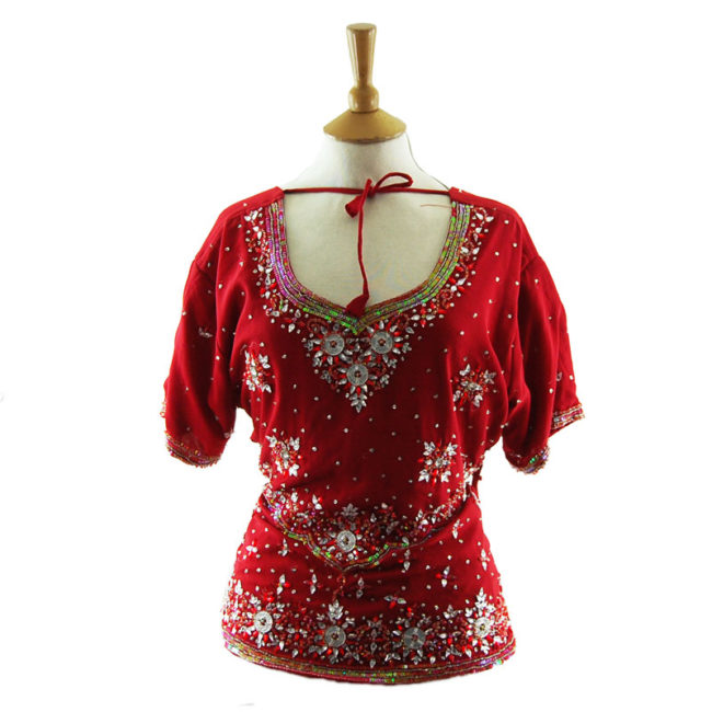90s Red And Silver Sequined Top