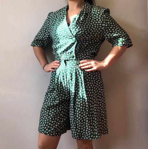 Green Flower Print Playsuit