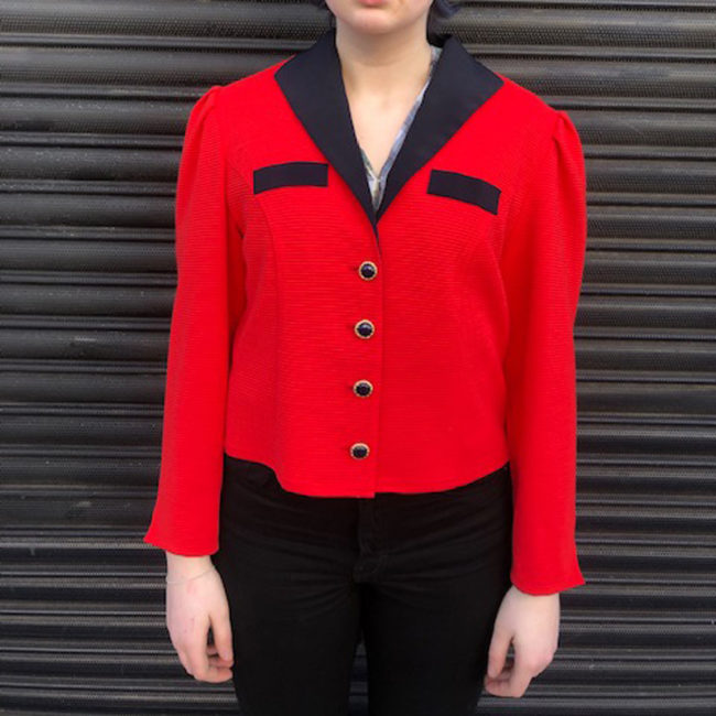 90s Red Ribbed Suit Jacket