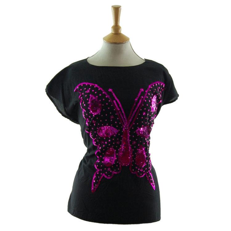 Sequin Butterfly Tee Shirt