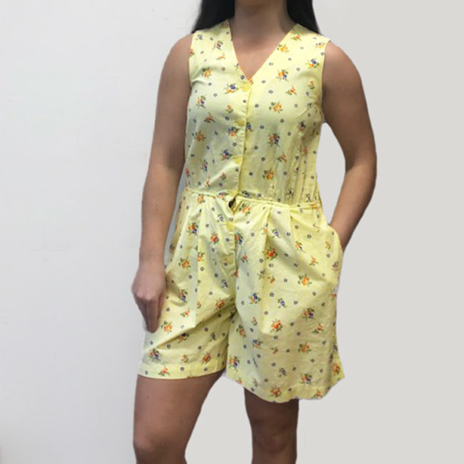 90s Yellow Floral Print Playsuit