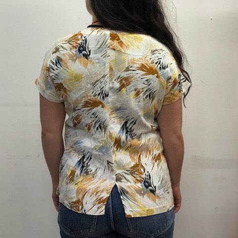 back of 80s Asymmetrical Paint Slash Top