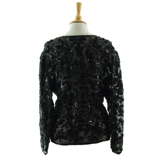 back of 90s Black Sequined Cardigan