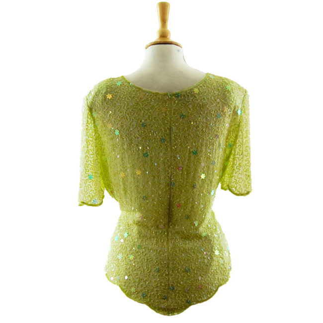 back of Beaded Pastel Green Top