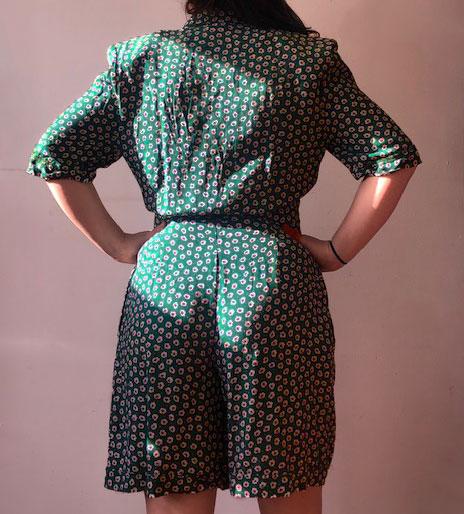 back of Green Flower Print Playsuit