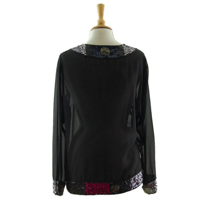back of Light Chiffon Sequin Jacket