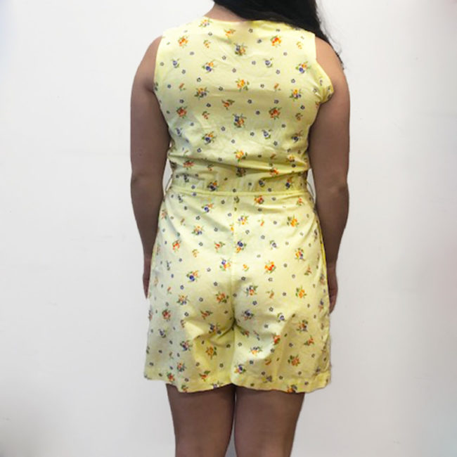 back of 90s Yellow Floral Print Playsuit
